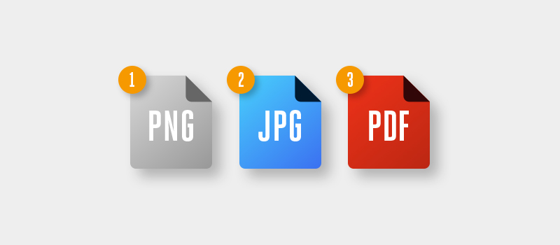 PNG JPG and PDF files