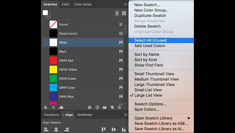 Delete unused swatches from Adobe Illustrator