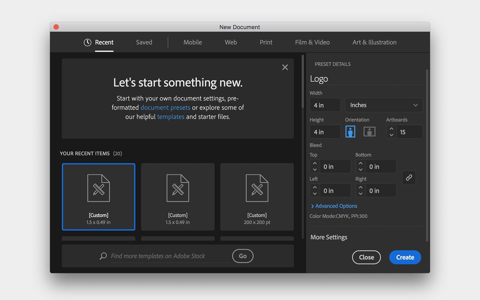 New document window in Illustrator