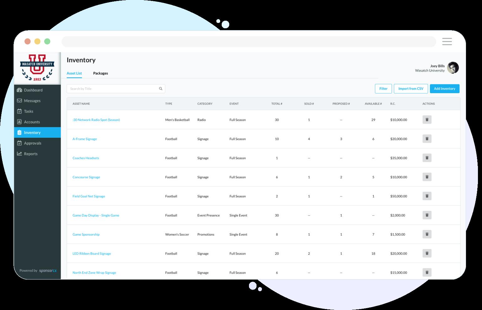 Inventory Management - SponsorCX