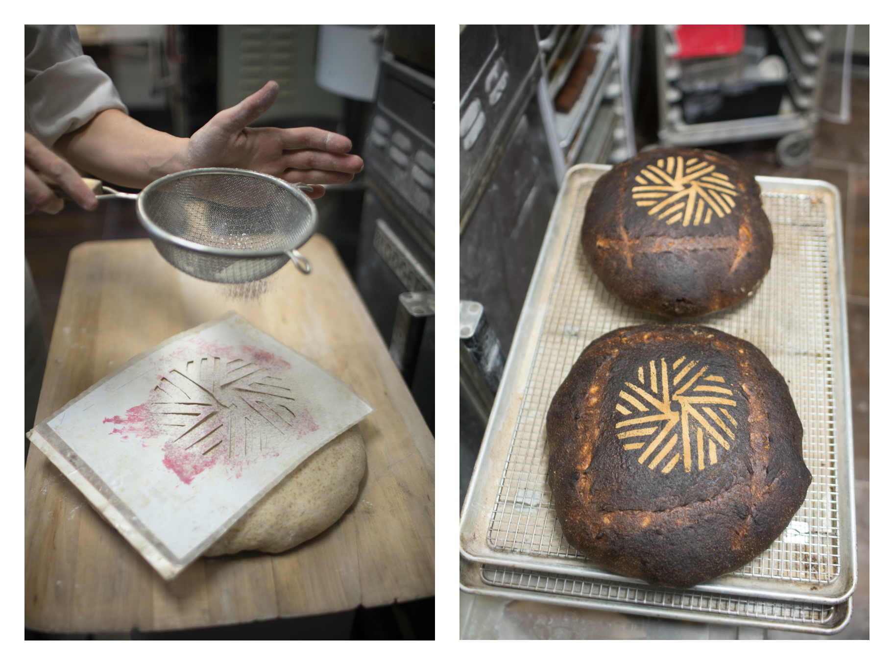 Runner and Stone bakery with fresh backed boule feature the millstone branding.