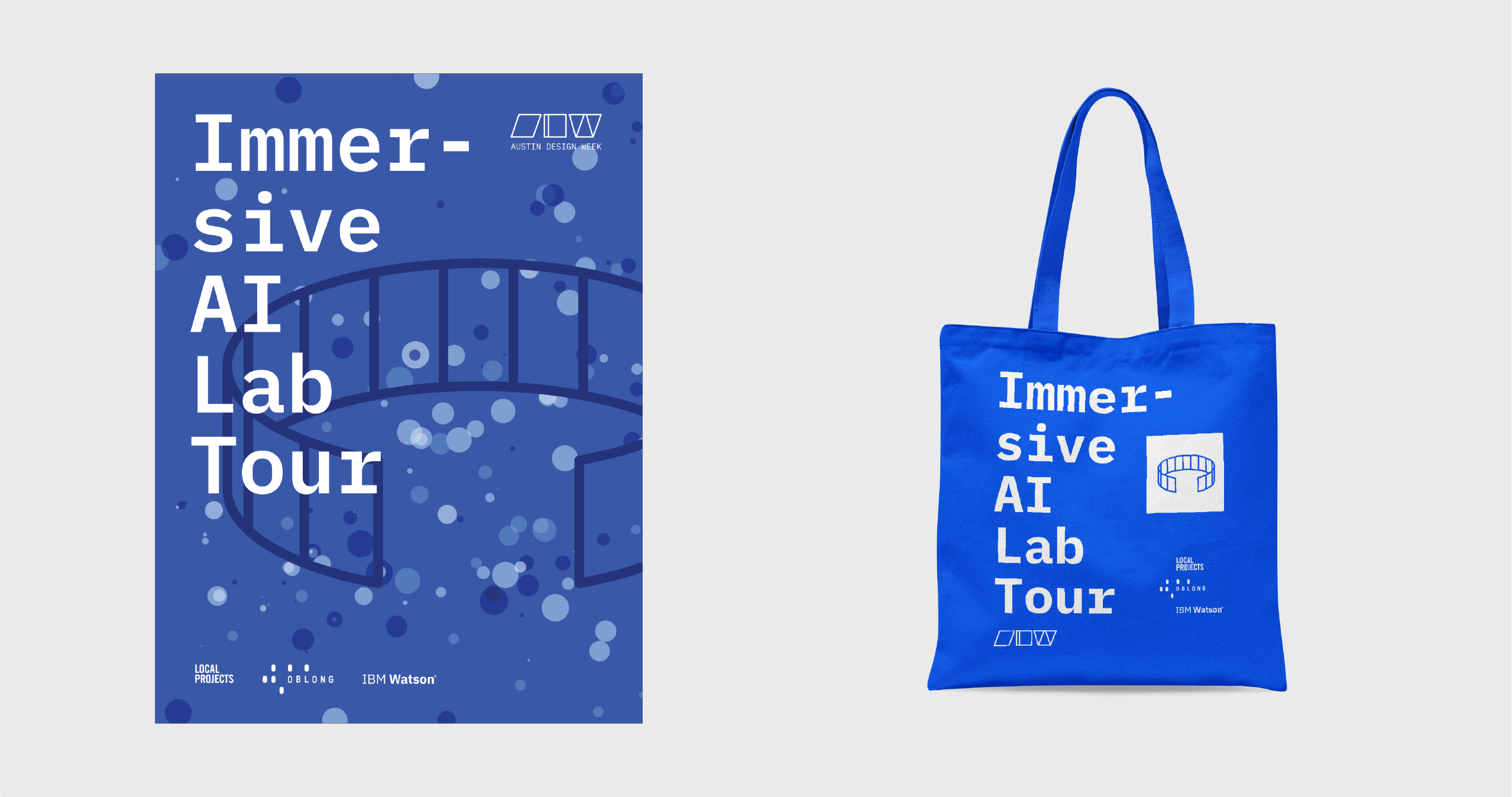 Immersive AI Lab Tour poster and tote designed with AI.