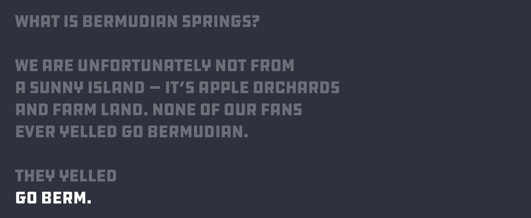 What is Bermudian Springs? We are unfortunately not from a sunny island — it's apple orchards and farm land. None of our fans ever yelled go Bermudian. They yelled GO BERM.