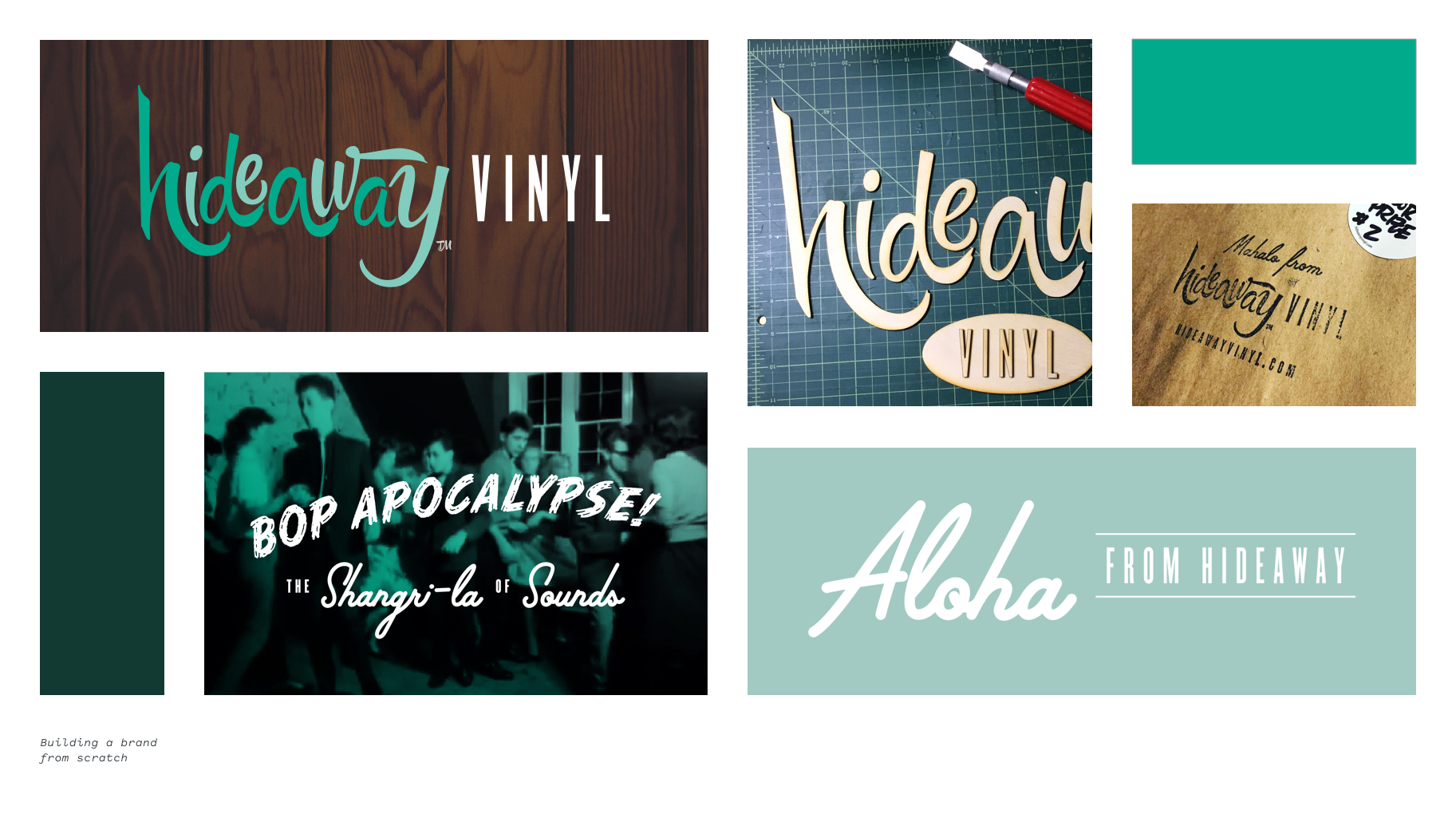 Images showing Hideaway Vinyl logo applications