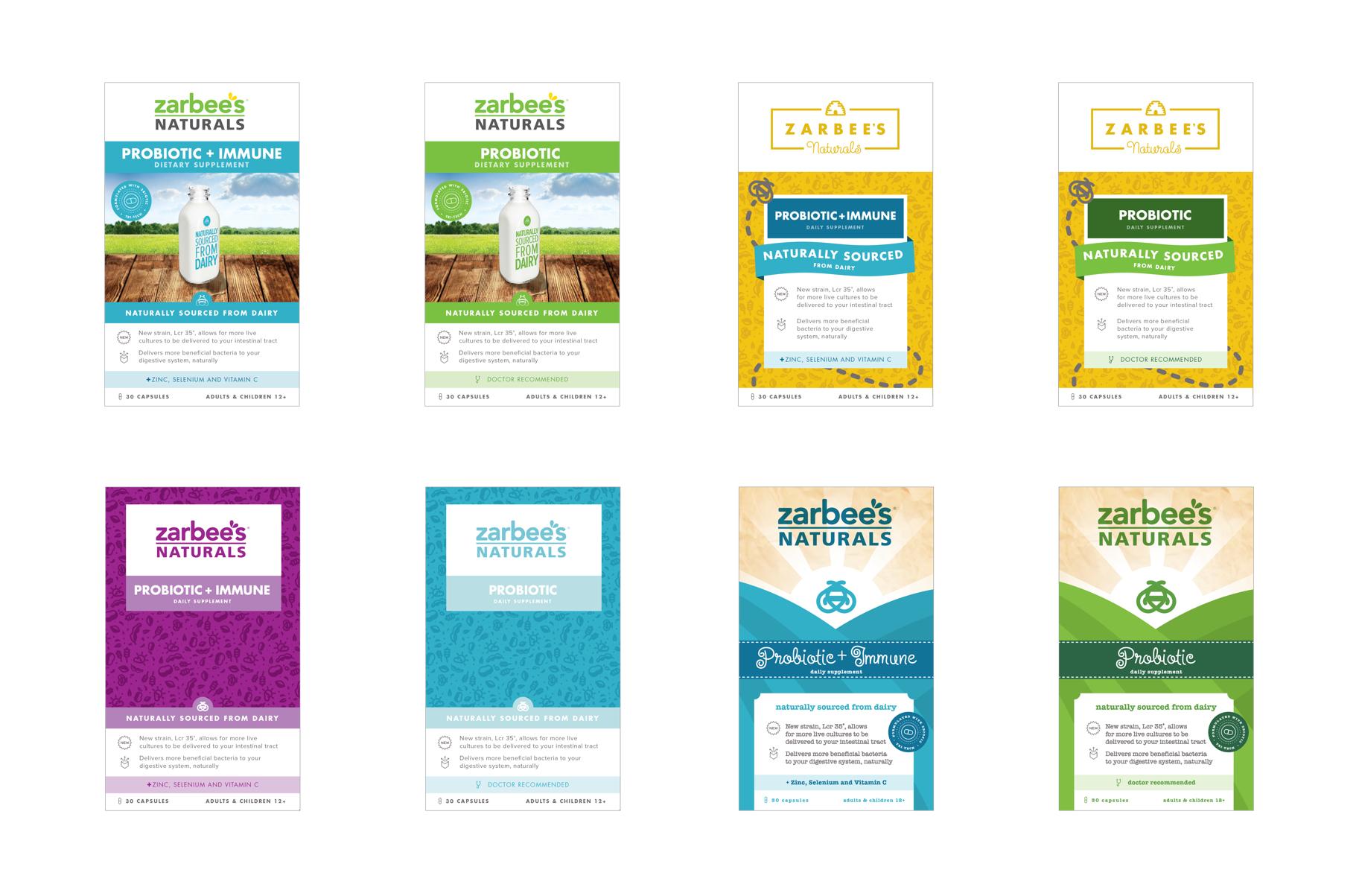 Sixth round of Zarbee's Naturals Probiotic packaging design