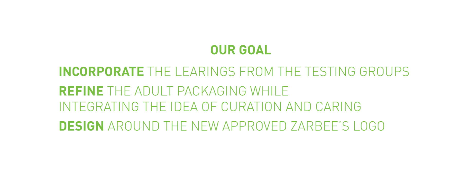 OUR GOAL  — Incorporate the learnings from the testing groups, Refine the adult package while integrating the ideas of curation and caring, Design around the new approved Zarbee's Logo