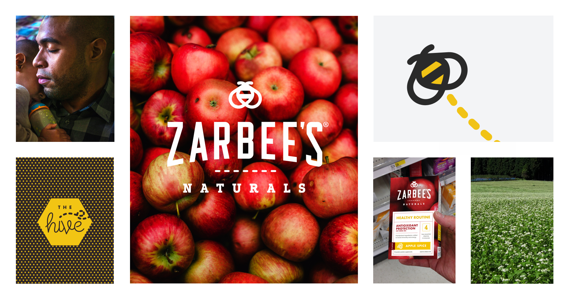 Collage of Zarbee's Natural brand elements