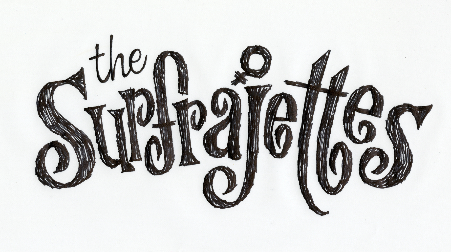 Hand-lettered Surfrajettes logo version 2
