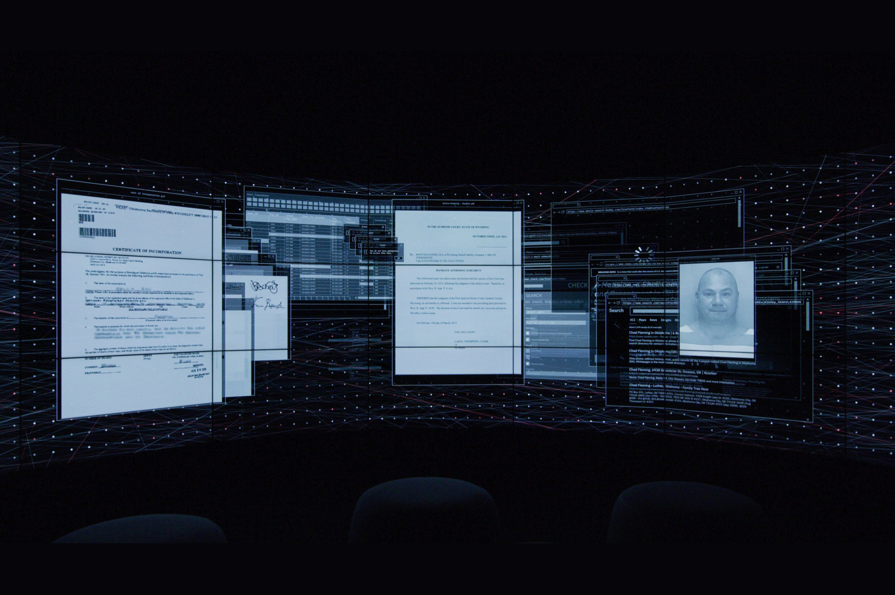 Experience image showing financial crime evidence in 3D space