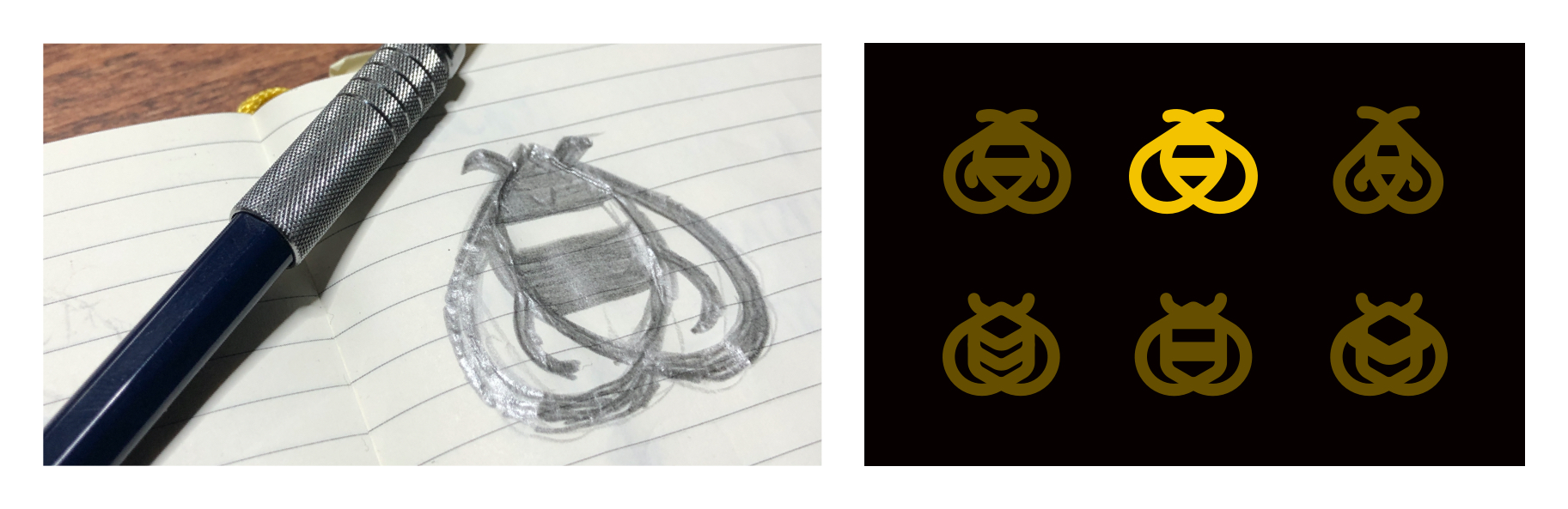 Zarbee's logo from drawing to execution