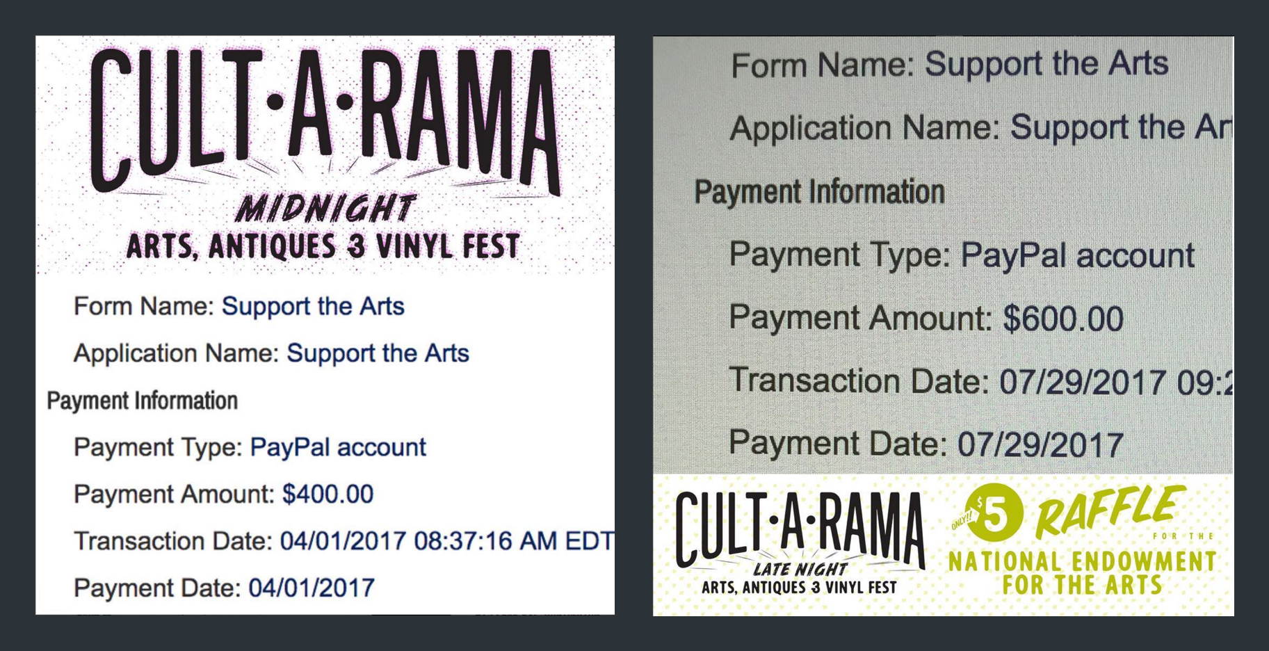 Cult•A•Rama donation photos