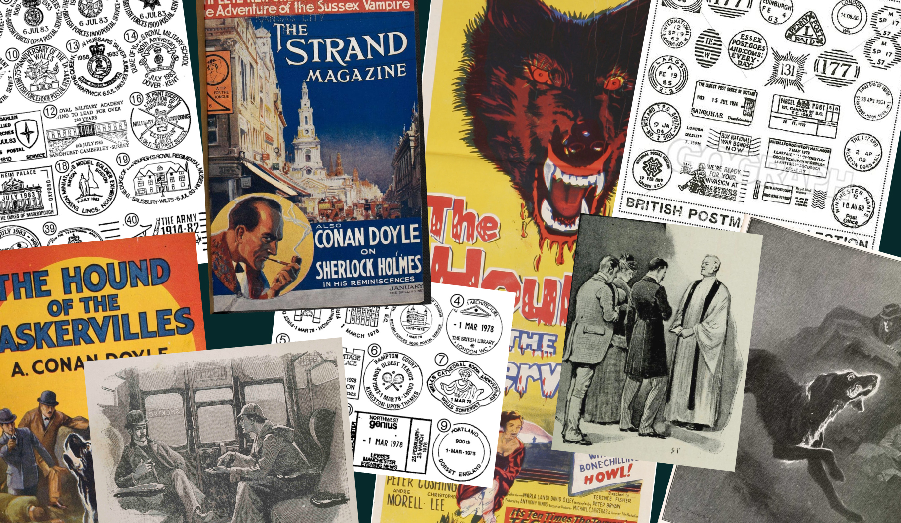 Collage showing inspirations for the brand including British postmarks, Sherlock Holmes posters, novels and SIdney Paget illustrations