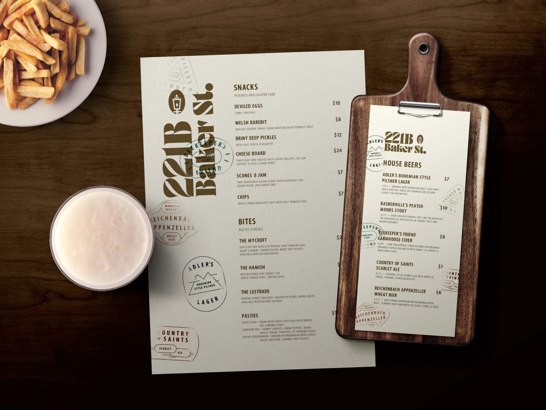 221B Baker St. menu & beer menu