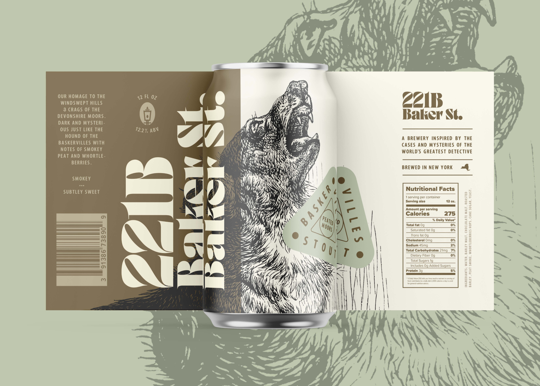 Can design for Baskervilles Peated Moor Stout