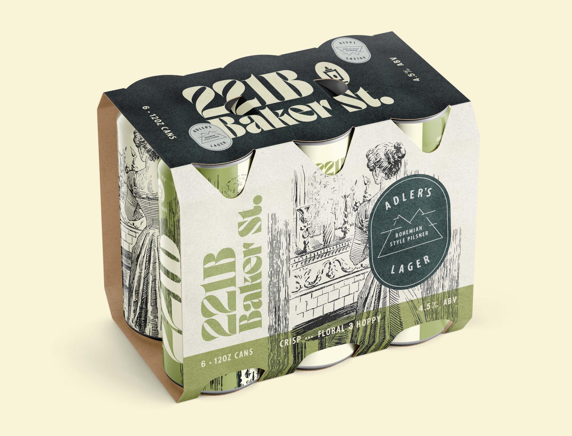 Six pack design for Adler's bohemian-style pale pilsner lager