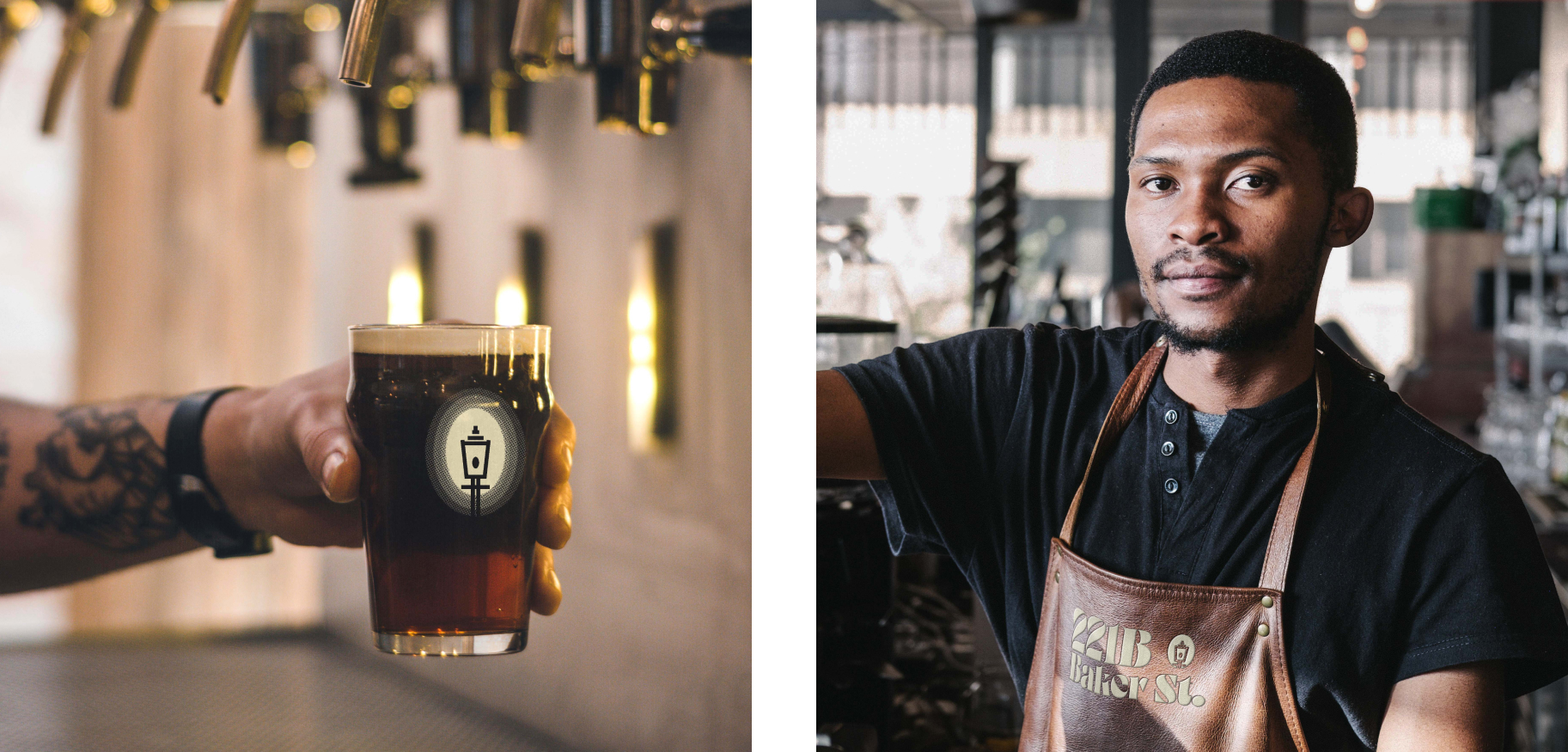 Close up of draft beer with logo on glass and bartender with embroidered 221B apron
