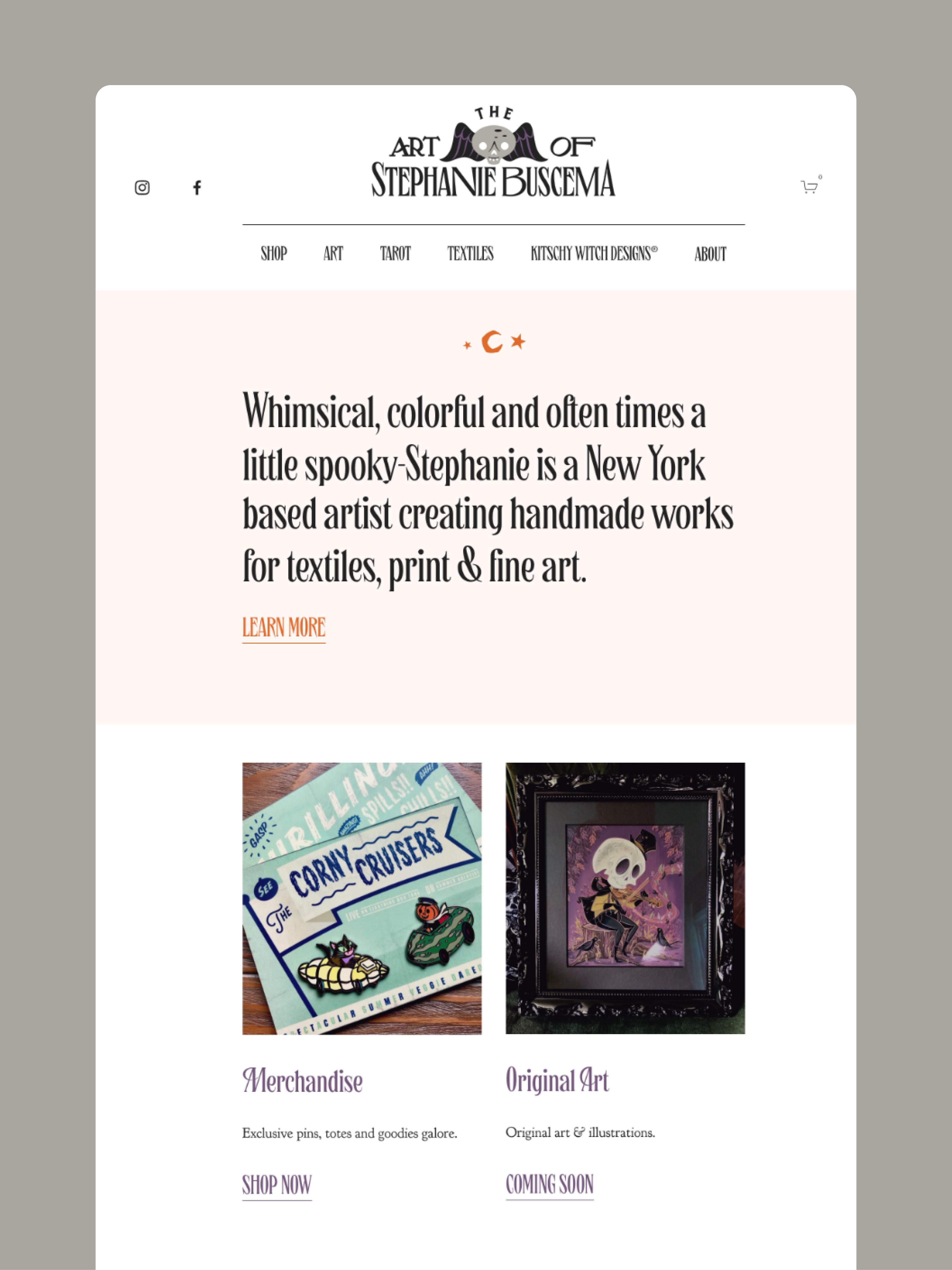 Homepage design — The Art of Stephanie Buscema