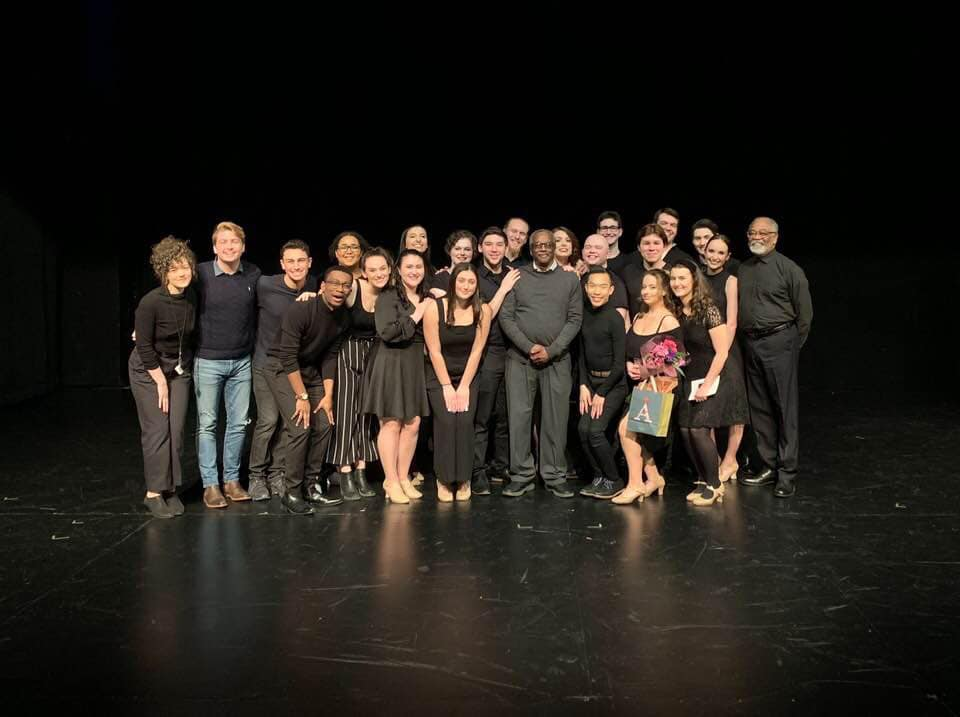 Kelly with the cast of the Hal Prince Tribute at Marymount Manhattan College