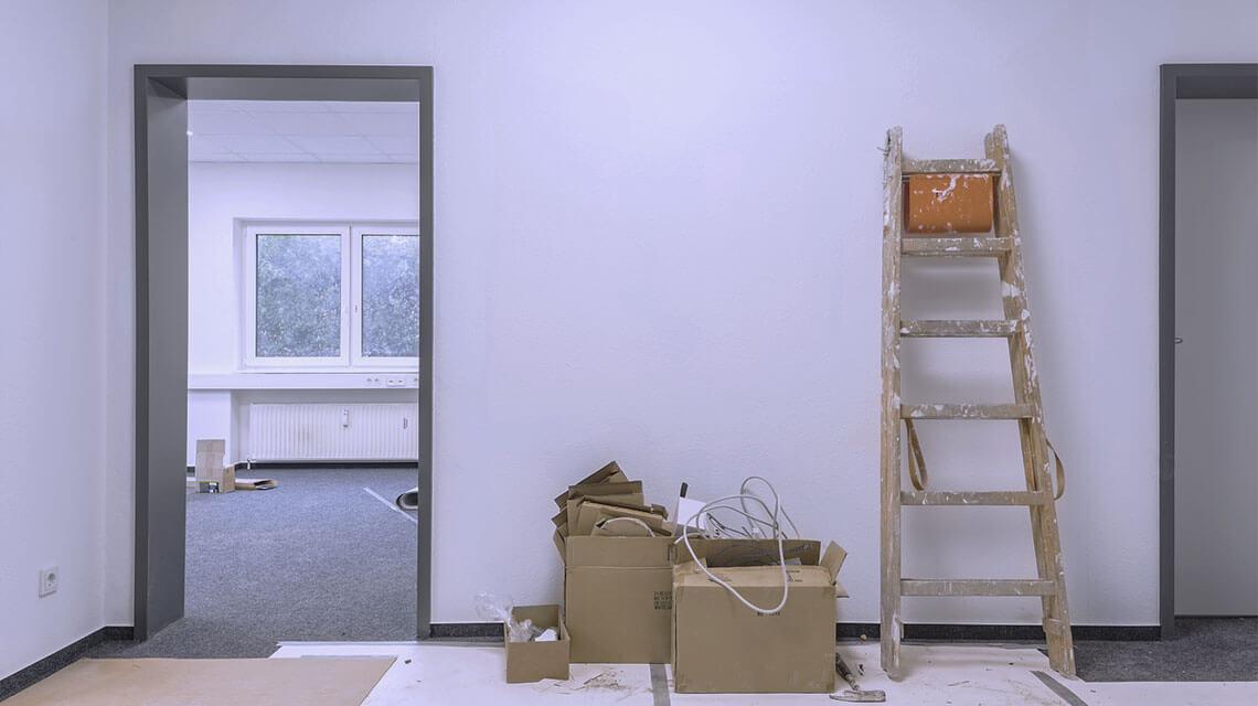 Renovierungsarbeiten im Gebäude.
