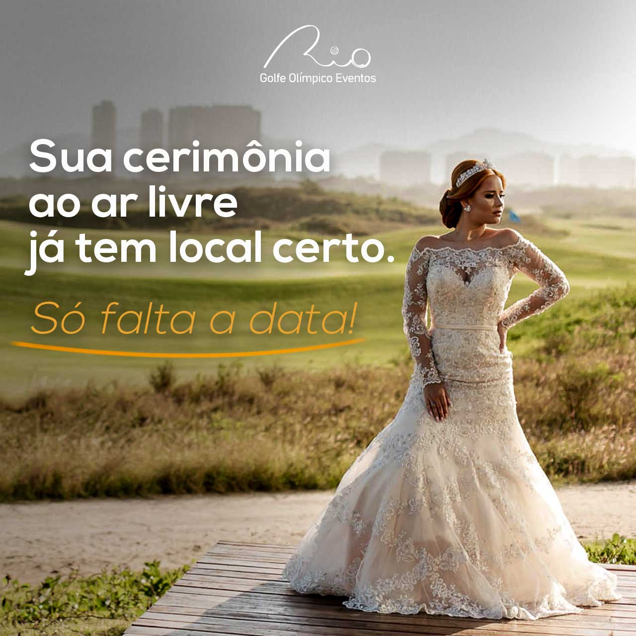 Arte de portfólio para redes sociais do cliente Golfe Olímpico eventos. Na imagem aparece uma noiva no campo Olímpico de Golfe, com uma frase.