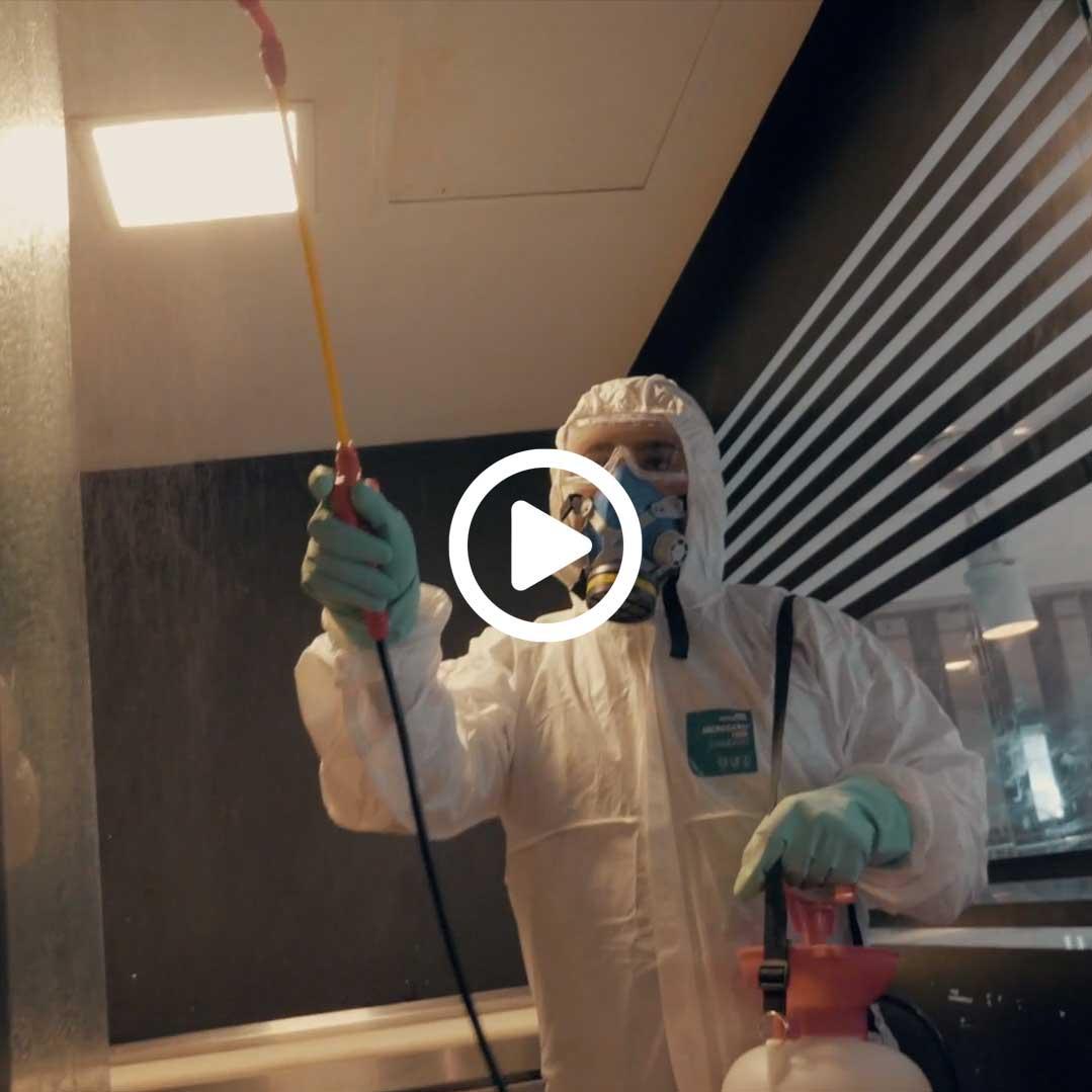 Thumbnail para o vídeo da sanitização no restaurante Ojo.