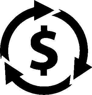 Imagem com 3 setas ao redor de um cifrão, representando o ROI (retorno sobre o investimento)