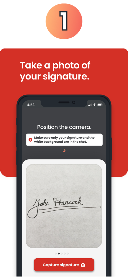 Capture your signature using the Stamper Mobile app.