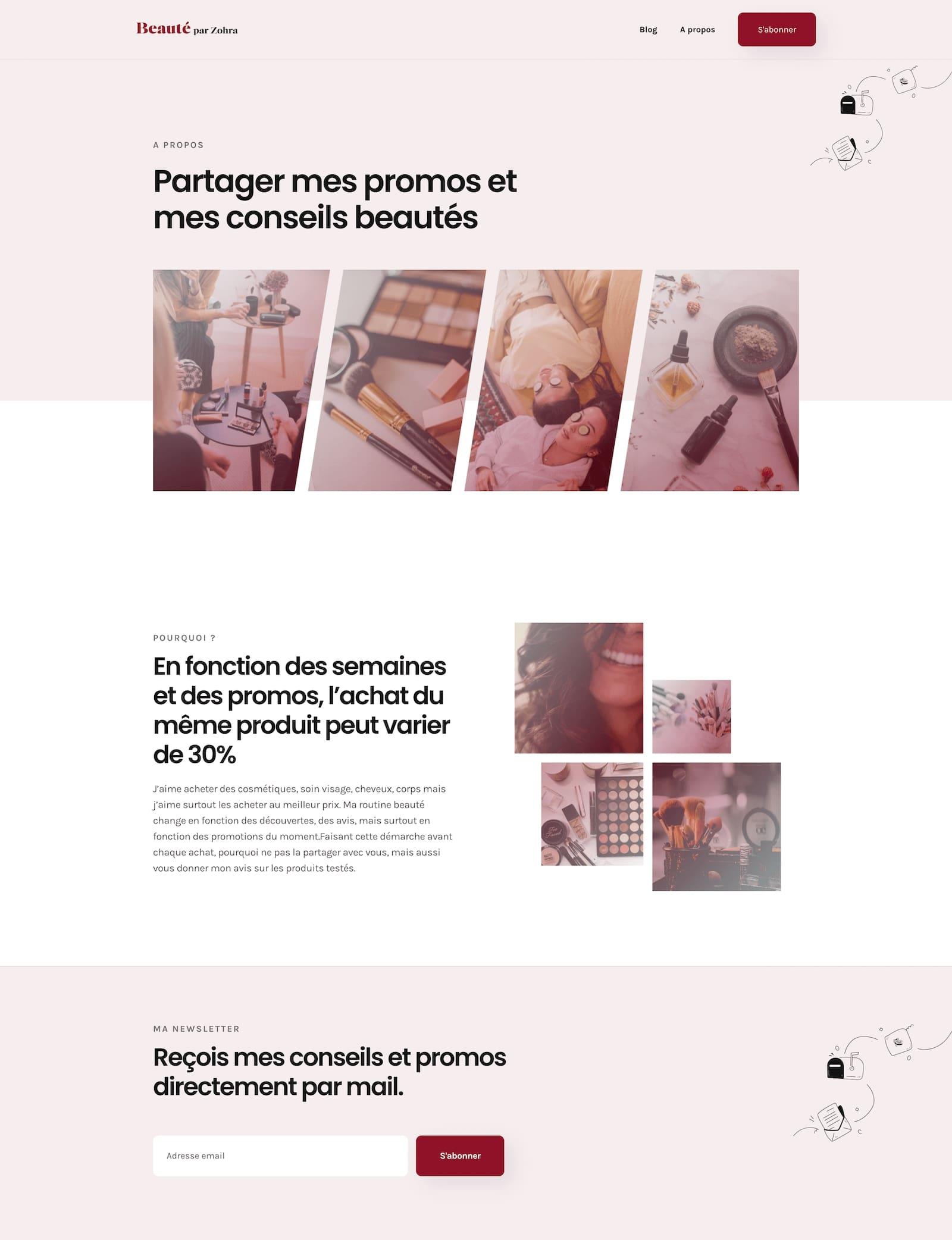 Photo du site web Beauté par Zohra