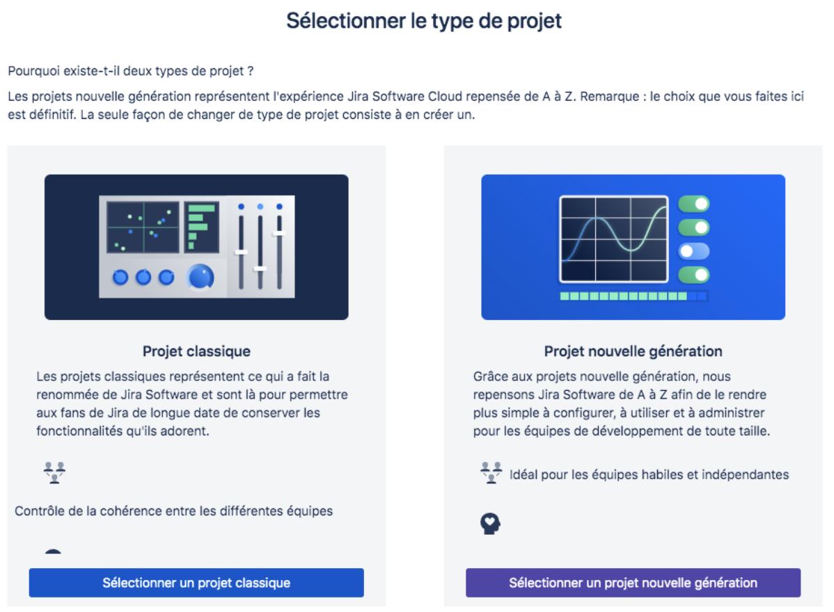Les deux types de projets sur JIRA