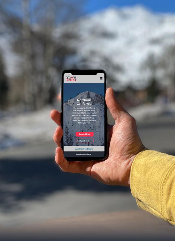 mobile phone showing snowbrains client work