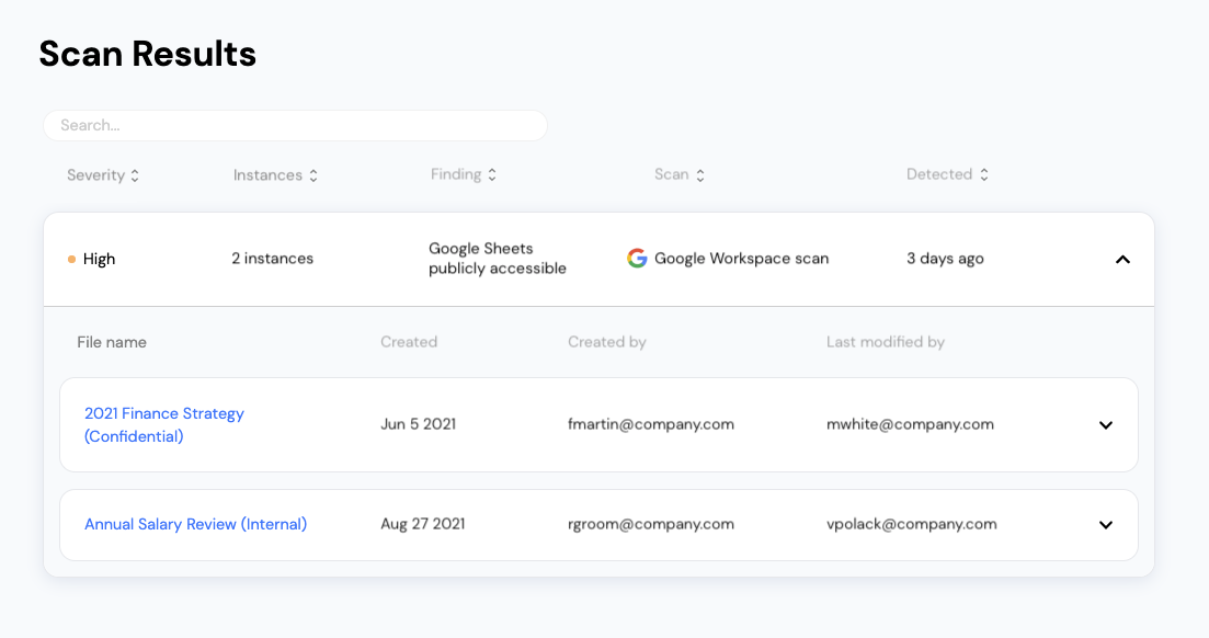 File security scan results for Google Workspace on Vectrix