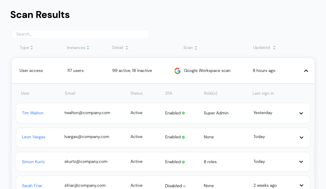 User access control scan results for Google Workspace on Vectrix