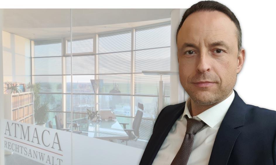 Fotomontage mit Rechtsanwalt Marco Atmaca vor seinem Büro im Exzenterhaus