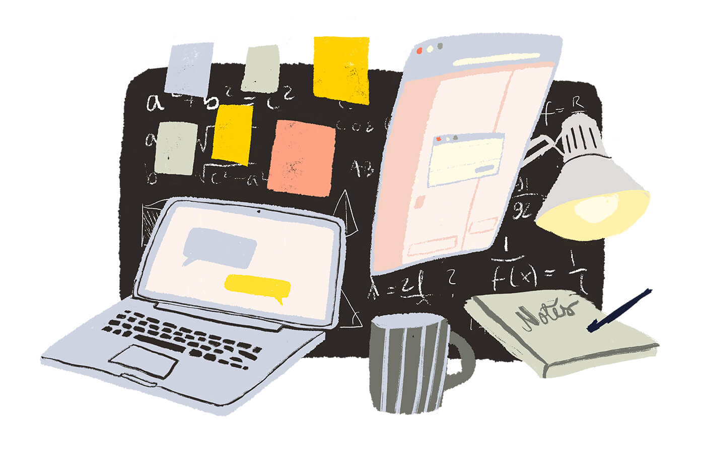 An illustration of a laptop, a coffee cup, a post-it board, a lamp etc.