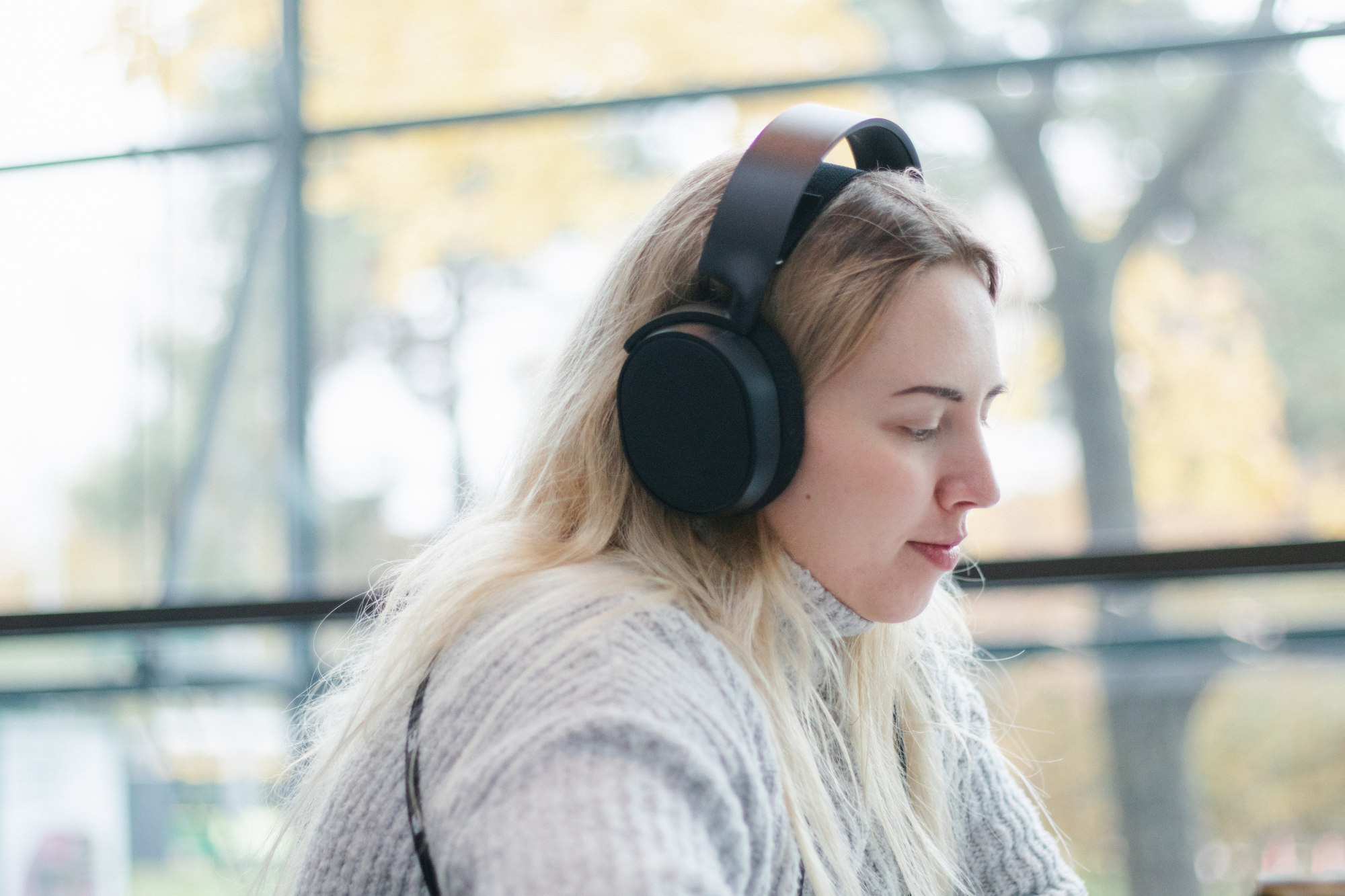 A person with headphones on