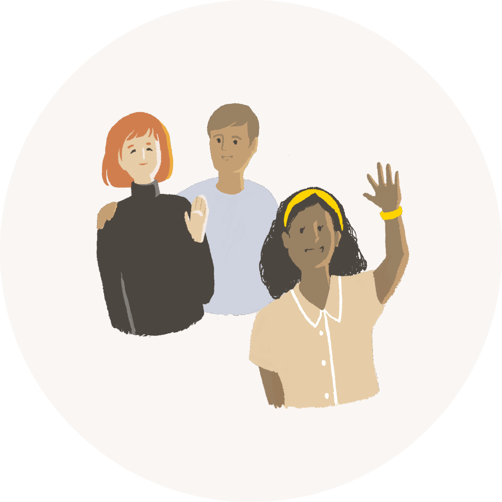 An illustration of three people waving