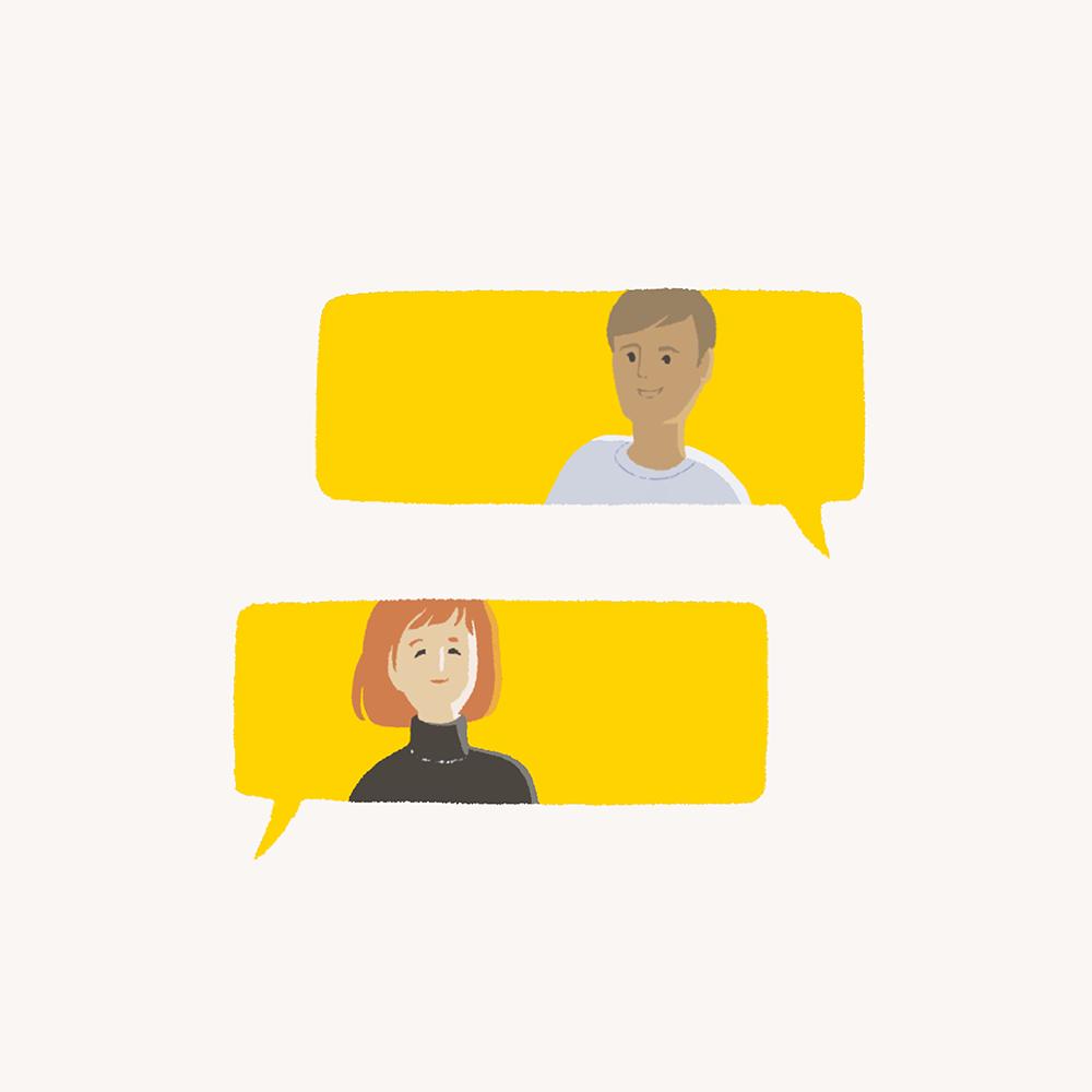 An illustration of two yellow speech balloons.