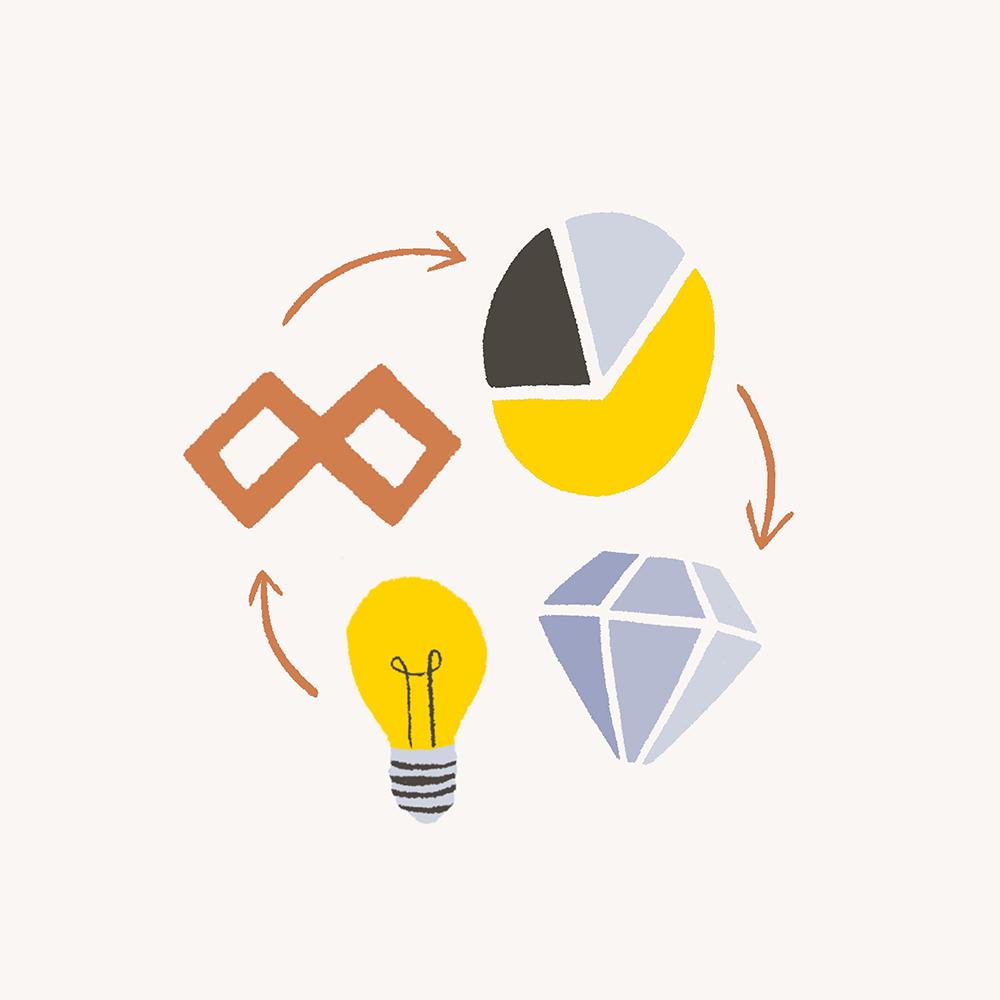 An illustration of a lightbulb, a pie chart and a diamond.