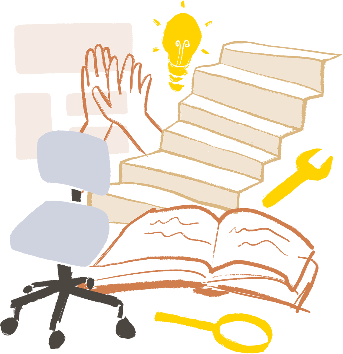 An illustration of stairs, a book, a lightbulb and a few other other things inspired by what Helsinki Think Company does.