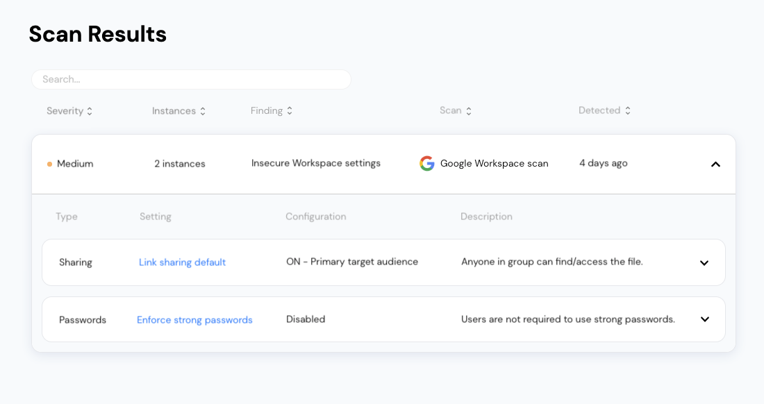 Review insecure settings in Google Workspace on Vectrix