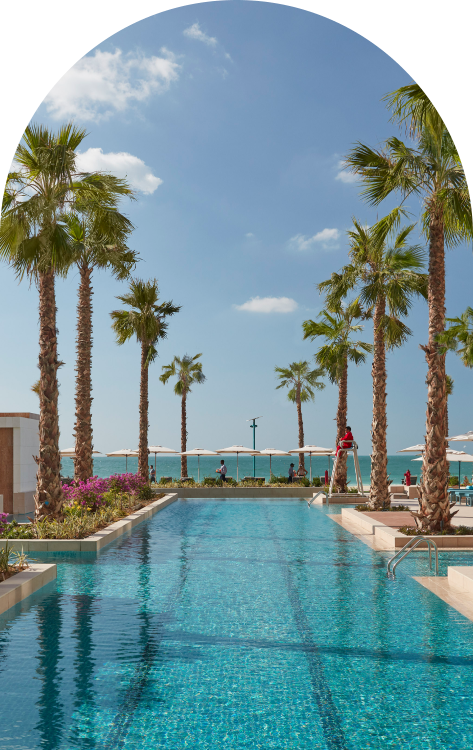 View overlooking the pool towards the sea with palm trees lining the sides.