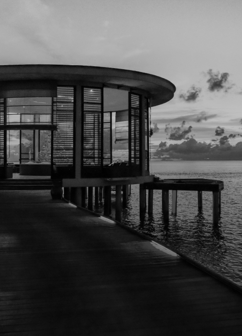 Luxury private hotel room in the water in black and white