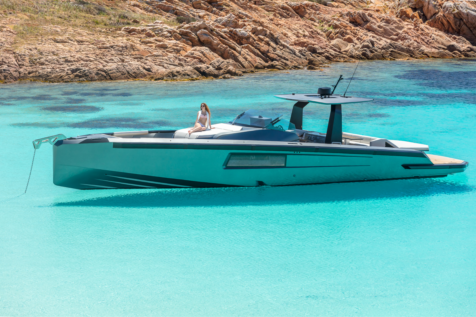 Luxury boat on turquoise blue water
