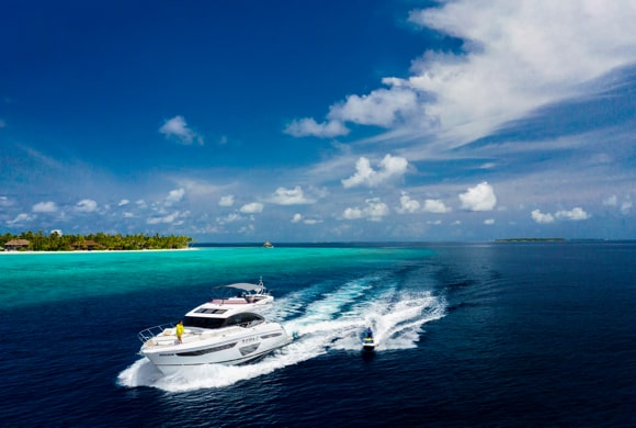 Sports yacht in turquoise waters