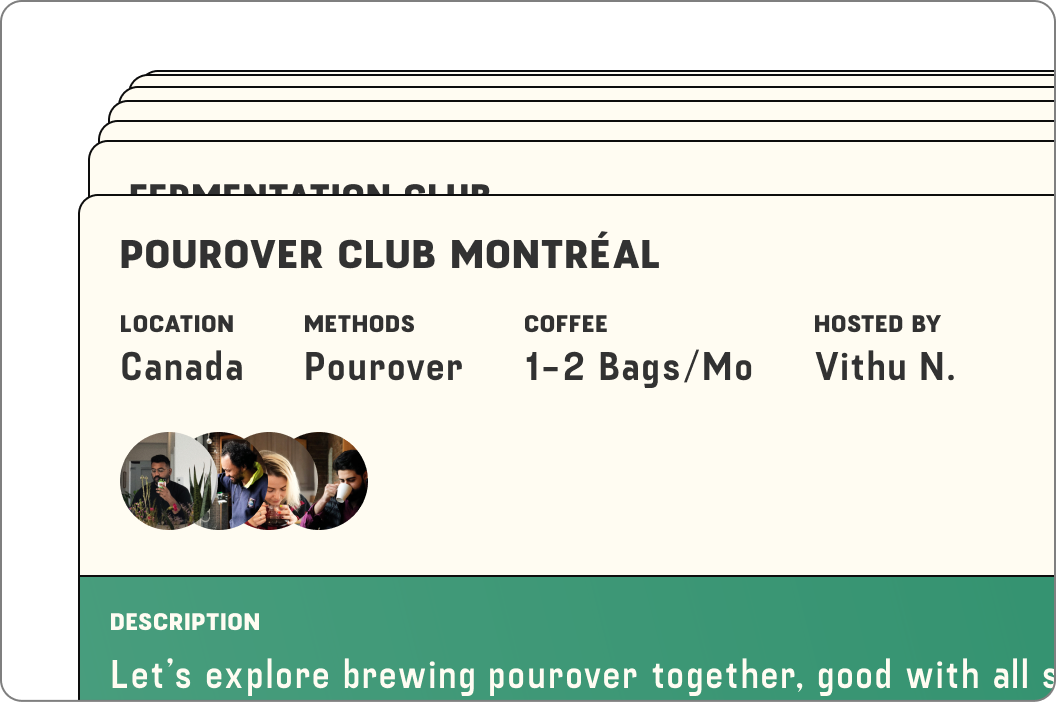 An image of cards show the details of a club called Pourover Club Montreal. The card shows the members of the club as well as the details of the club, including the location, the brew methods, the number of bags and who hosts the club.