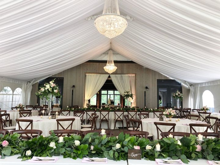 A wedding venue with tables, chairs, and florals