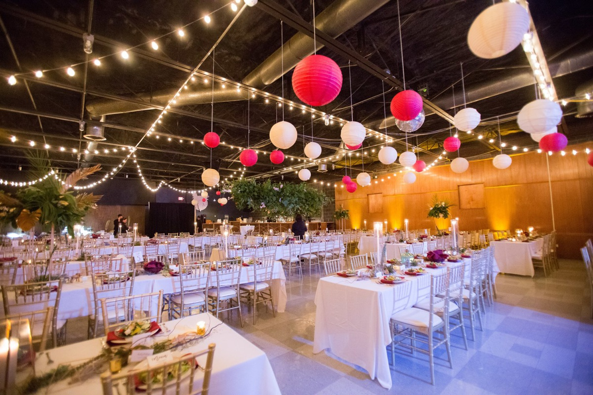 Tables, chairs, and decor at The Hall