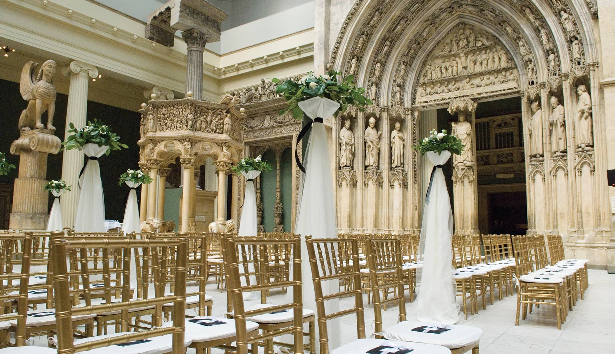 Chairs and decor set up for a wedding at Carnegie Hall