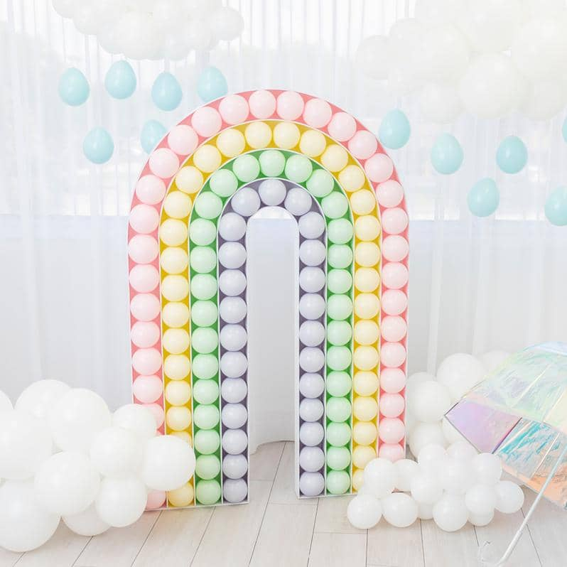 A rainbow mosaic balloon with clouds and raindrops