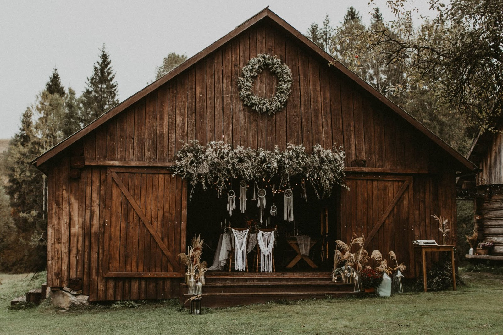 A rustic barn decorated for a wedding.